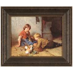 "Feeding the Rabbits 24"" Wide Traditional Framed Wall Art"