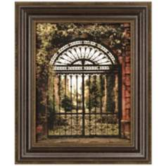 "English Iron Gate and Vines 26"" High Framed Wall Art"
