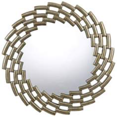 "Baldwin Round 37"" Metalware Stepped Frame Wall Mirror"