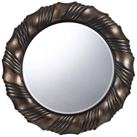 "Starke Round 33"" Dark Bronze Wall Mirror"