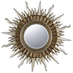 "Sunburst 45"" Wide Gold and Silver Wall Mirror"