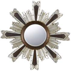 "Chafe 40"" Round Walnut and Silver Wall Mirror"