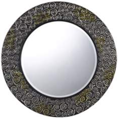 "Salisbury Round 32"" Scroll Pattern Wall Mirror"