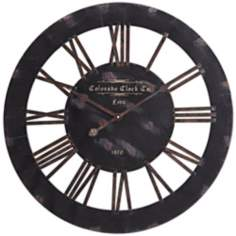 "Cooper Classics Elko 26 1/2"" Wide Black Wall Clock"
