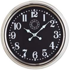 "Cooper Classics Fillmore 24 1/2"" Wide Nickel Wall Clock"