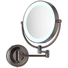 "Cordless LED Pivoting 9"" Wide Bronze Wall Mount Mirror"
