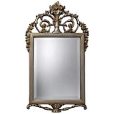 "Stewart 31"" High Antique Silver and Gold Wall Mirror"
