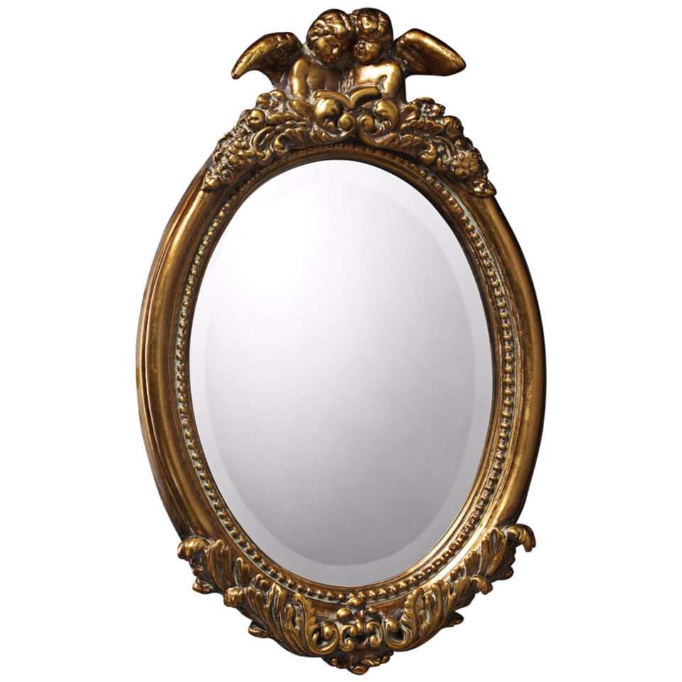 "Bronville 23"" High Antique Gold Leaf Wall Mirror   #X7117"