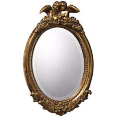 "Bronville 23"" High Antique Gold Leaf Wall Mirror"