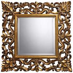 "Barrets 22"" Square Beaufort Gold Wall Mirror"