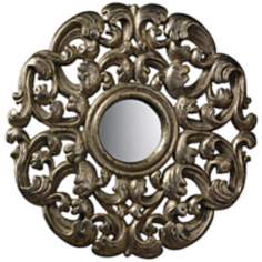 "Lanne 16"" Round Antiqued Blackwood Silver Mirror"