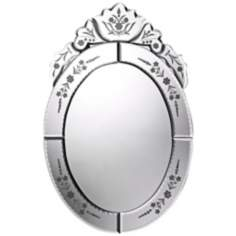 "Kingstree 20"" High Etched Oval Wall Mirror"