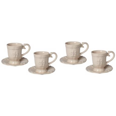 Set of 4 Ivory Fleur-de-Lis Tea Cups and Saucers