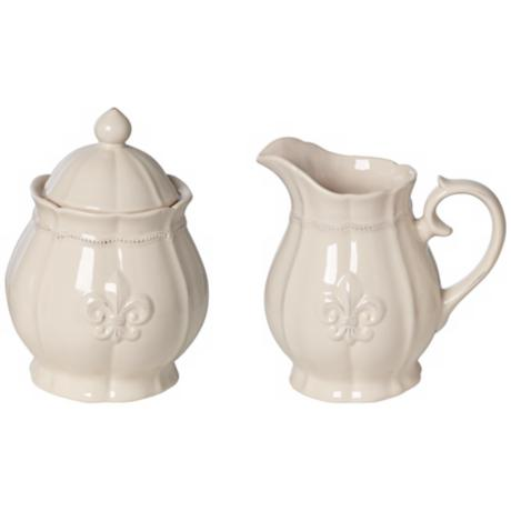 Ivory Fleur-de-Lis 2-Piece and Sugar Pot Set