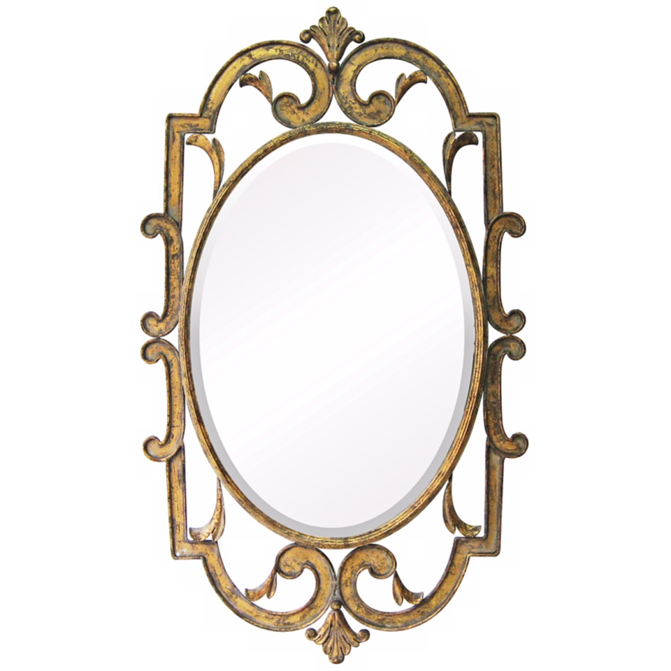 "Woodside 40"" High Laurier Antique Gold Wall Mirror   #X7148"