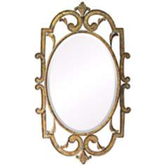 "Woodside 40"" High Laurier Antique Gold Wall Mirror"