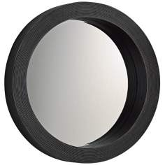 "Round Espresso 27"" Wide Wood Wall Mirror"