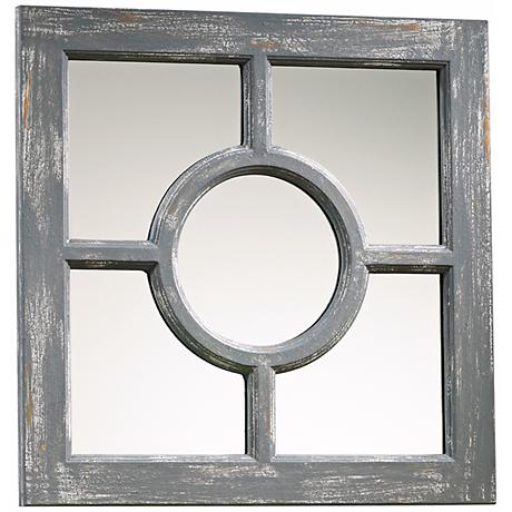"Ashford 16 3/4"" Wide Distressed Gray Wood Wall Mirror"