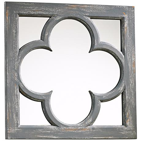 "Ashwell 16 3/4"" Wide Gray Wood Wall Mirror"
