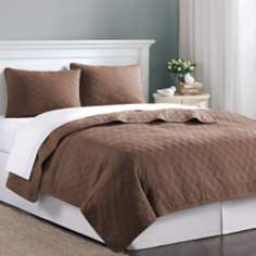 Hampton Hill Velvet Touch Tobacco Coverlet Set
