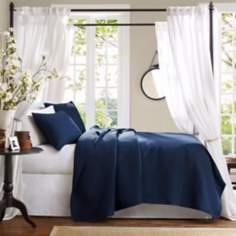 Hampton Hill Velvet Touch Blue Coverlet Set