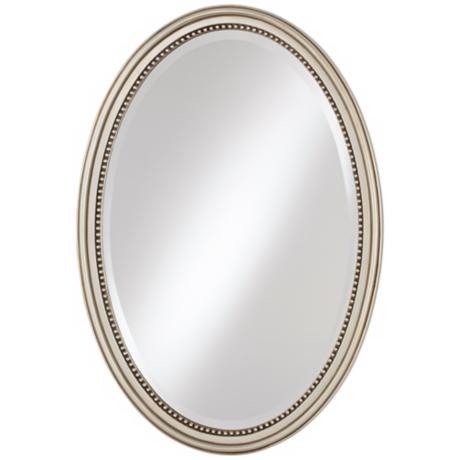 "Silver Beaded 32"" High Oval Mirror"