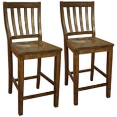 Set of 2 American Heritage Hyden Vertical Slat Counter Chair