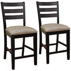 Set of 2 American Heritage Salma Black Slat Counter Chairs