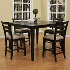 Este with Salma Stool 5-Pc Black Counter Height Dining Set