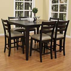 Este with Salma Stool 7-Pc Black Counter Height Dining Set