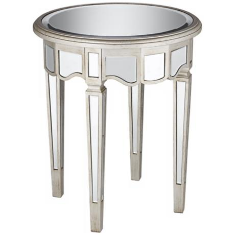 Annette Antique Silver Mirror End Table