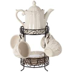 White 9-Piece Dolomite Tea Set with Rack