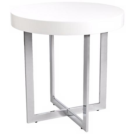Oliver White Wood Side Table