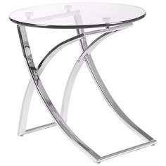 Talisa Contemporary Glass and Chrome Side Table