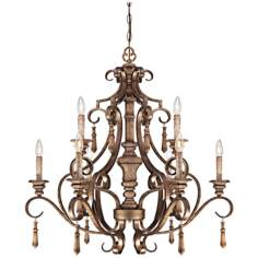 "Abbott Place 33 3/4"" Wide Double Tier Oak Chandelier"