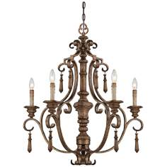 "Abbott Place 29"" Wide SingleTier Oak Chandelier"