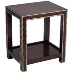 Madonna Nailhead Espresso Accent Table