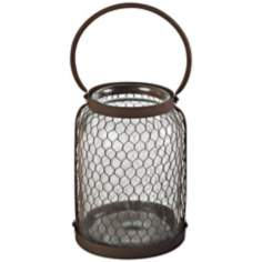 Large Glass and Wire Mesh Hurricane Lantern