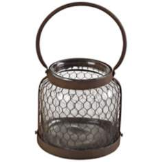 Small Glass and Wire Mesh Hurricane Lantern