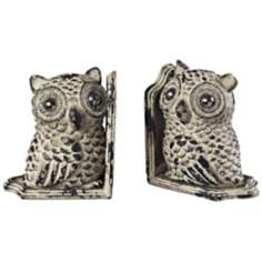 Set of 2 Grappa Gray Owl Bookends