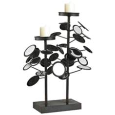 Iron And Mirror Candle Holder
