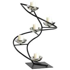 Iron Spiral Black and Chrome Candle Holder