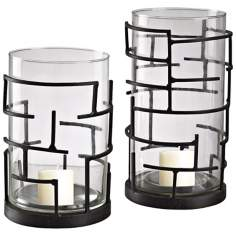 Set of 2 Glass and Iron Hurricane Lanterns