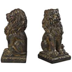 Set of 2 Seated Lion Aged Copper Bookends