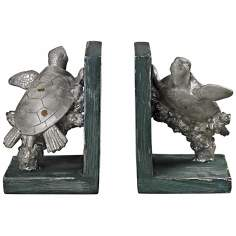 Set of 2 Swimming Turtle Silver Bookends