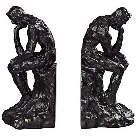 Thinking Man Deep Bronze Bookends Set