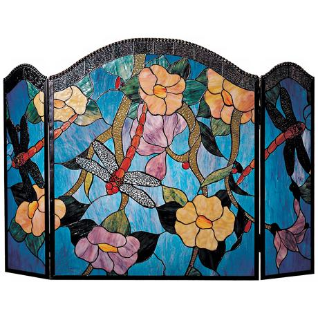 Blue Dragonfly Glass Folding Fireplace Screen