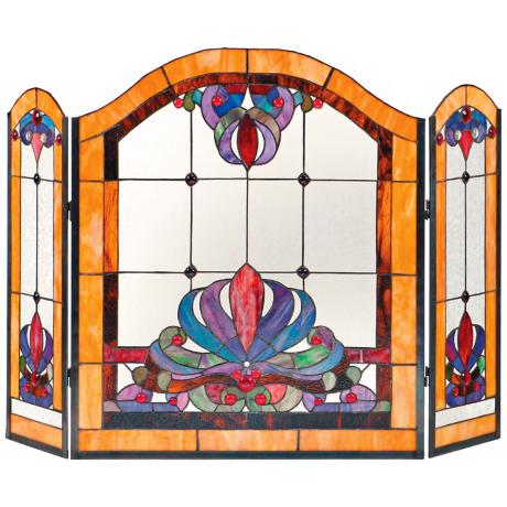 Anemone Glass Folding Fireplace Screen