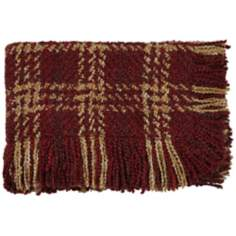Concord Cinnabar Fringe Throw Blanket