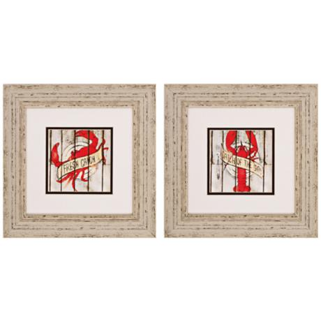 "Set of 2 Fresh Catch of the Day 14"" Wide Framed Wall Art"